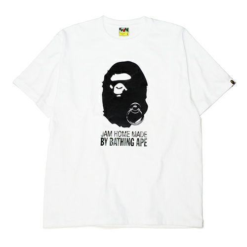 【JAM HOME MADE(ジャムホームメイド)】オンラインショップ限定 A BATHING APE/アベイシングエイプ FOIL TEE -WHITE×BLACK- メンズ レディース ユニセックス ホワイト サイズ 猿 ロゴ コラボ 限定