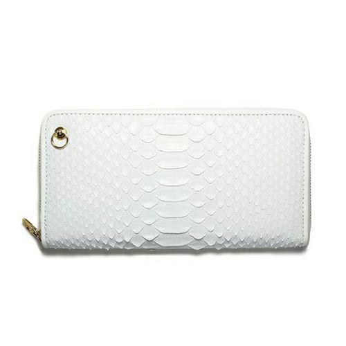 リアルパイソンファスナーロングウォレット -WHITE- / 長財布