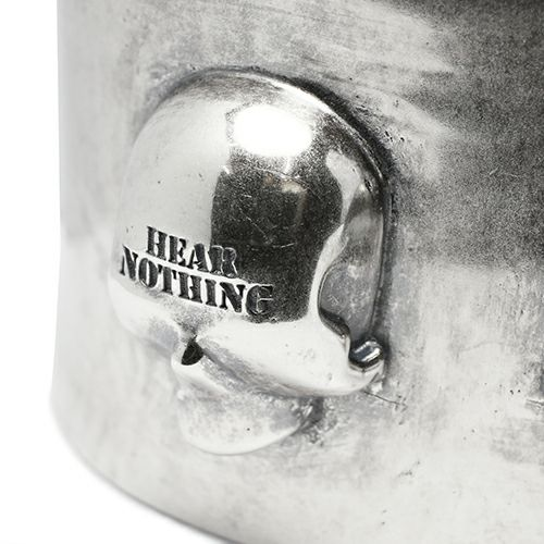 ブレスレット / スリーワイズモンキーズスカルバングル メンズ シルバー 人気 ブランド おすすめ ごつい ガイコツ 三猿