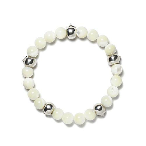【JAM HOME MADE(ジャムホームメイド)】スカル数珠ブレスレット -MOTHER OF PEARL- メンズ シルバー ホワイト おすすめ ブランド 人気 ドクロ ガイコツ ギフト プレゼント