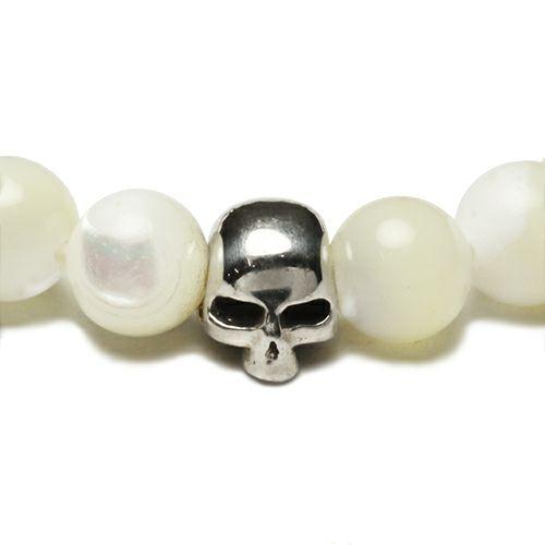 ブレスレット / スカル数珠ブレスレット -MOTHER OF PEARL- メンズ シルバー ホワイト おすすめ ブランド 人気 ドクロ ガイコツ ギフト プレゼント