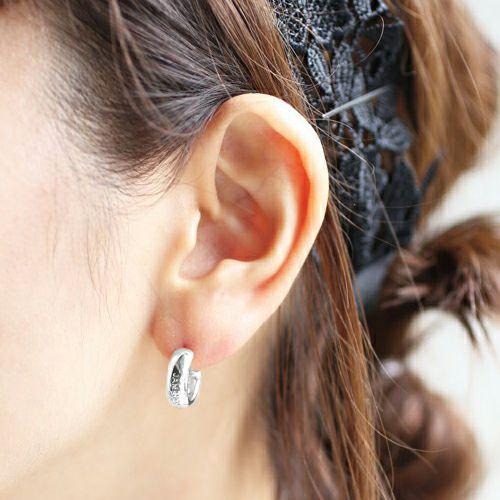 ラウンドダイヤモンドピアス -SILVER- / 片耳