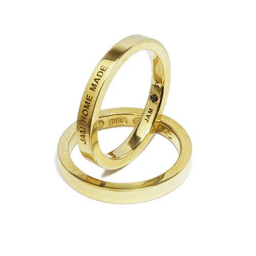 【JAM HOME MADE(ジャムホームメイド)】フラットダブルダイヤモンドリング M -GOLD- / 指輪 メンズ レディース シルバー ダイヤモンド 平打ち 2連 ペア 人気 おすすめ ブランド ギフト プレゼント クリスマス 記念日 誕生日