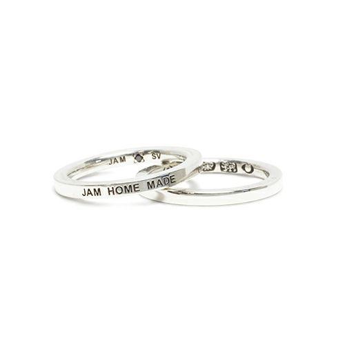 【JAM HOME MADE(ジャムホームメイド)】フラットダブルダイヤモンドリング S -SILVER- / 指輪 メンズ レディース シルバー ダイヤモンド 平打ち 2連 ペア 人気 おすすめ ブランド ギフト プレゼント クリスマス 記念日 誕生日