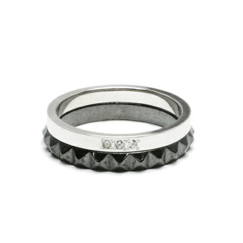 スタッズダブルリング M -BLACK- / 指輪