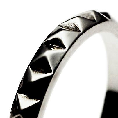 【ジャムホームメイド(JAMHOMEMADE)】スタッズ ダブル リング M - ブラック / 指輪
