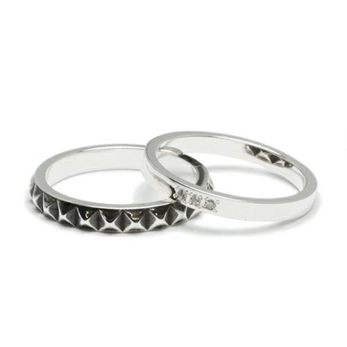 【JAM HOME MADE(ジャムホームメイド)】スタッズダブルリング M -SILVER- / 指輪 メンズ レディース シルバー ダイヤモンド 平打ち 2連 ペア 人気 おすすめ ブランド ギフト プレゼント クリスマス 記念日 誕生日