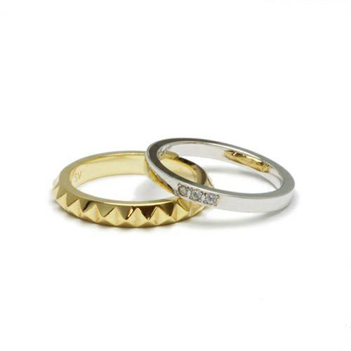 指輪 / スタッズダブルリング S -GOLD- メンズ レディース シルバー ゴールド ダイヤモンド 平打ち 2連 ペア 人気 おすすめ ブランド ギフト プレゼント クリスマス 記念日 誕生日