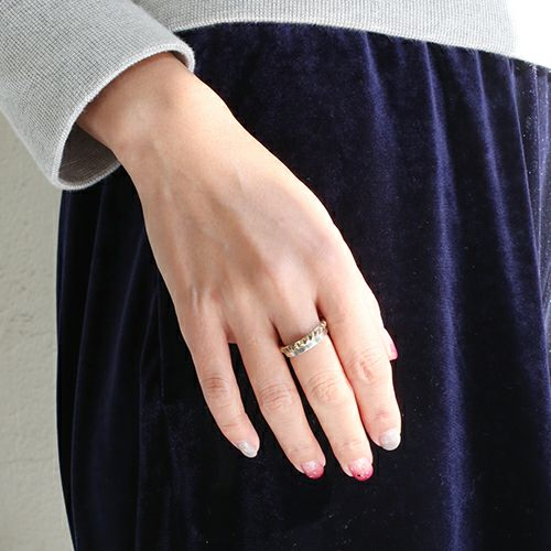 【JAM HOME MADE(ジャムホームメイド)】スタッズダブルリング S -SILVER- / 指輪 メンズ レディース シルバー ダイヤモンド 平打ち 2連 ペア 人気 おすすめ ブランド ギフト プレゼント クリスマス 記念日 誕生日