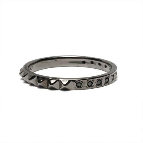 【JAM HOME MADE(ジャムホームメイド)】スタッズシングルリング M -BLACK- / 指輪 メンズ レディース シルバー ブラック ダイヤモンド 平打ち 2連 ペア 人気 おすすめ ブランド ギフト プレゼント クリスマス 記念日 誕生日