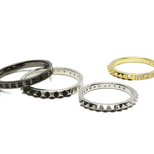 スタッズシングルリング M -BLACK- / 指輪