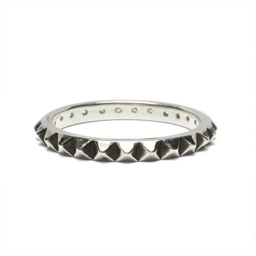 【JAM HOME MADE(ジャムホームメイド)】スタッズシングルリング M -SILVER- / 指輪 メンズ レディース シルバー ダイヤモンド 平打ち 2連 ペア 人気 おすすめ ブランド ギフト プレゼント クリスマス 記念日 誕生日