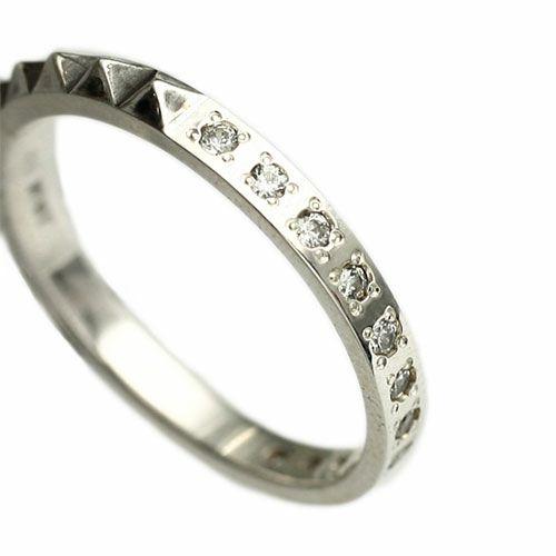 指輪 / スタッズシングルリング M -SILVER- メンズ レディース シルバー ダイヤモンド 平打ち 2連 ペア 人気 おすすめ ブランド ギフト プレゼント クリスマス 記念日 誕生日