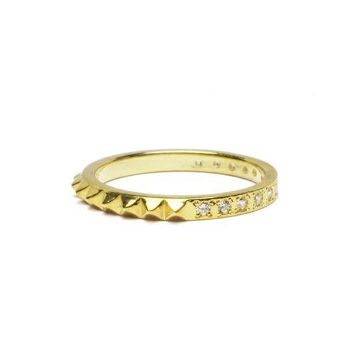 【JAM HOME MADE(ジャムホームメイド)】スタッズシングルリング S -GOLD- / 指輪 メンズ レディース シルバー ゴールド ダイヤモンド 平打ち 2連 ペア 人気 おすすめ ブランド ギフト プレゼント クリスマス 記念日 誕生日