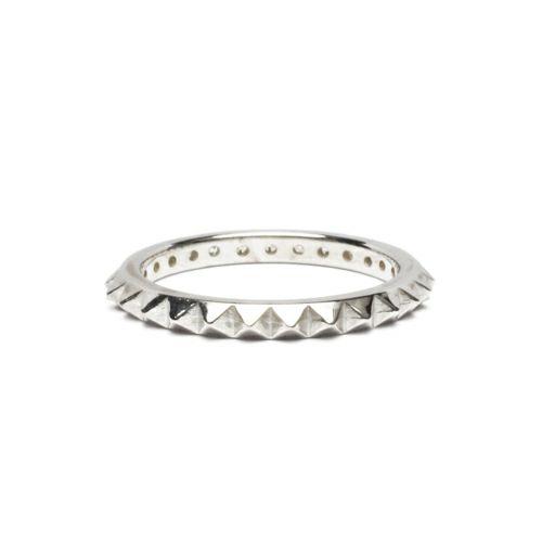 【JAM HOME MADE(ジャムホームメイド)】スタッズシングルリング S -SILVER- / 指輪 メンズ レディース シルバー ダイヤモンド 平打ち 2連 ペア 人気 おすすめ ブランド ギフト プレゼント クリスマス 記念日 誕生日