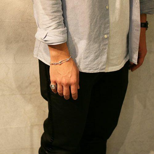 【ジャムホームメイド(JAMHOMEMADE)】安全ピン (セーフティピン)  長アズキ チェーン ダイヤモンド ブレスレット M - ブラック