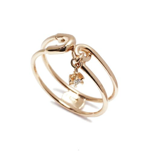 安全ピン(セーフティピン)ダイヤモンドリング -K10PINKGOLD- / 指輪・リング