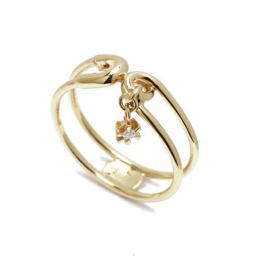安全ピン(セーフティピン)ダイヤモンドリング -K10YELLOWGOLD- / 指輪・リング