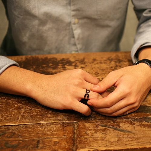 指輪 / セーフティピンリング M -BLACK- メンズ シルバー ダイヤモンド 人気 おすすめ ブランド ギフト プレゼント クリスマス オリジナル 安全ピン アクセサリー