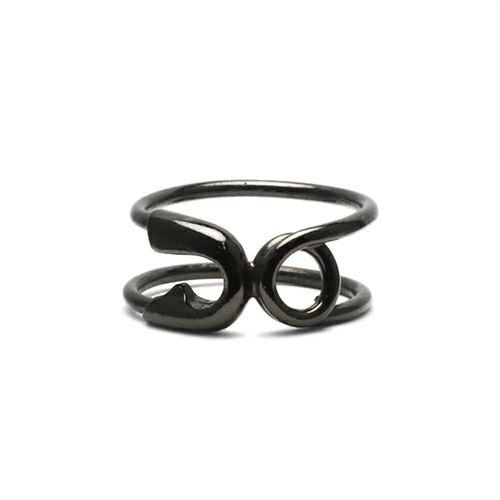 【JAM HOME MADE(ジャムホームメイド)】セーフティピンリング S -BLACK- / 指輪 レディース メンズ ピンキー シルバー ダイヤモンド 人気 おすすめ ブランド ギフト プレゼント クリスマス オリジナル 安全ピン アクセサリー