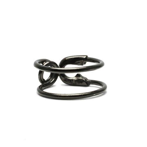 指輪 / セーフティピンリング S -BLACK- レディース メンズ ピンキー シルバー ダイヤモンド 人気 おすすめ ブランド ギフト プレゼント クリスマス オリジナル 安全ピン アクセサリー
