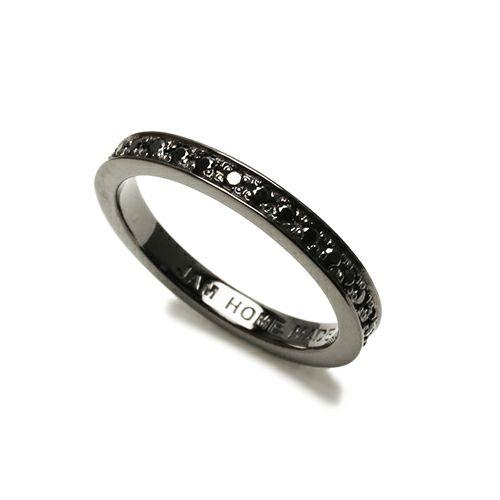 【JAM HOME MADE(ジャムホームメイド)】フラットダイヤモンドリングスター M -BLACK- / 指輪 メンズ レディース シルバー ダイヤモンド 平打ち ペア 人気 おすすめ ブランド ギフト プレゼント クリスマス 記念日 誕生日