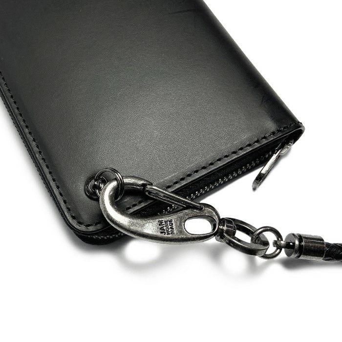 【JAM HOME MADE(ジャムホームメイド)】編み込みウォレットコード -BLACK- メンズ ブランド 人気 ブラック レザー/革 ウォレット/財布 チェーン シンプル パンク ロック パンツ デニム
