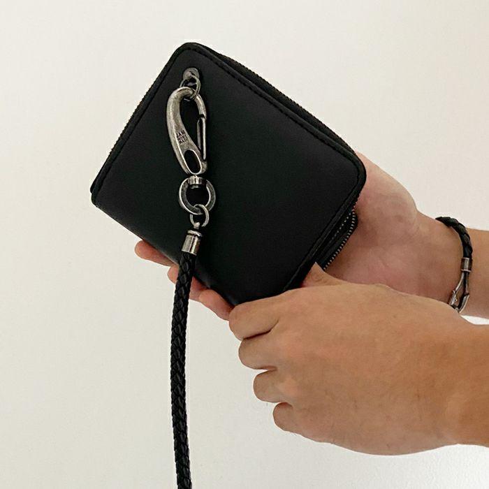 財布キーチェーン / 編み込みウォレットコード -BLACK- メンズ ブランド 人気 ブラック レザー/革 ウォレット/財布 チェーン シンプル パンク ロック パンツ デニム