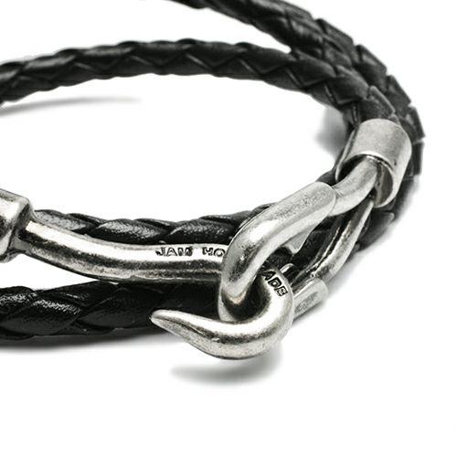 ブレスレット / 編み込み3巻ブレスレット -BLACK- メンズ レディース ペア レザー ブラック シルバー シンプル プレゼント 人気 おすすめ ギフト 定番 安心