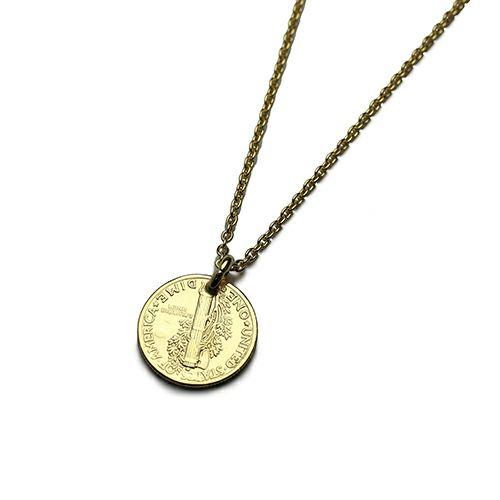 【ジャムホームメイド(JAMHOMEMADE)】コイン ネックレス ヴィンテージ マーキュリーコイン - ゴールド