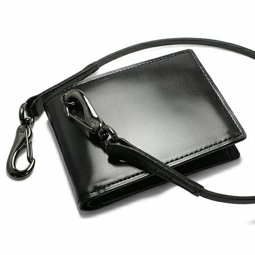 二つ折り財布 / 11月 誕生石 トパーズ 誕生石コードバンミディアムウォレット メンズ ブランド 人気 おすすめ 革 ブラック 馬革 シンプル カード 小銭入れ たくさん入る お手入れ 丈夫 ギフト 誕生日 機能性 ウォレットチェーン