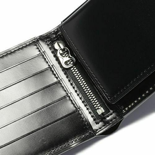 二つ折り財布 / 2月 誕生石 アメジスト コードバンミディアムウォレット メンズ ブランド 人気 おすすめ 革 ブラック 馬革 シンプル カード 小銭入れ たくさん入る お手入れ 丈夫 ギフト 誕生日 機能性 ウォレットチェーン