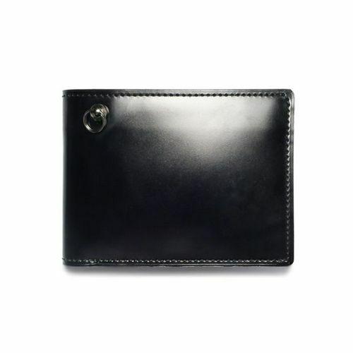 二つ折り財布 / 1月 誕生石 ガーネット コードバンミディアムウォレット メンズ ブランド 人気 おすすめ 革 ブラック 馬革 シンプル カード 小銭入れ たくさん入る お手入れ 丈夫 ギフト 誕生日 機能性 ウォレットチェーン