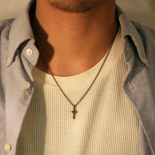 【JAM HOME MADE(ジャムホームメイド)】ロイヤルスタッズクロスネックレス M -BLACK- メンズ シルバー ペア 人気 おすすめ ブランド クロス 十字架 モチーフ プレゼント