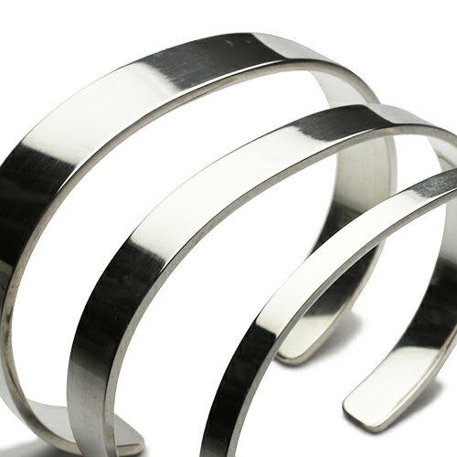 ブレスレット / フォージングフラットバングル L メンズ レディース ペア シルバー 925 ブランド 人気 おすすめ シンプル ボリューム 平打ち 太め