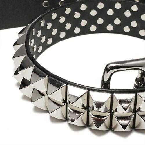 ファッション小物ベルト / POST スタッズベルト -DOUBLE- メンズ ブランド 人気 イタリア レザー/革 ブッテーロ シルバー スタッズ シンプル パンク ロック