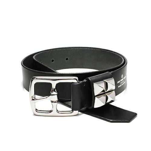 ファッション小物ベルト / POST プレーンスタッズベルト -DOUBLE- メンズ ブランド 人気 イタリア レザー/革 ブッテーロ シルバー スタッズ シンプル パンク ロック