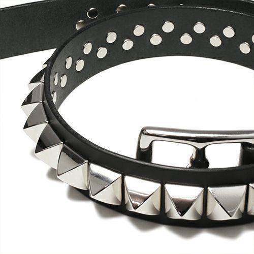 ファッション小物ベルト / POST スタッズベルト -SINGLE- メンズ ブランド 人気 イタリア レザー/革 ブッテーロ シルバー スタッズ シンプル パンク ロック