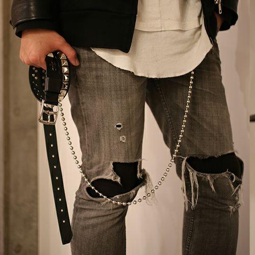 【JAM HOME MADE(ジャムホームメイド)】POST スタッズベルト -SINGLE- メンズ ブランド 人気 イタリア レザー/革 ブッテーロ シルバー スタッズ シンプル パンク ロック