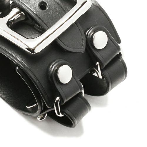 ブレスレット / POST レザーダブルブレスレット -BLACK- メンズ レザー イタリアンレザー 人気 ブランド 太め おすすめ バックル リスシオ ロットン ギフト プレゼント