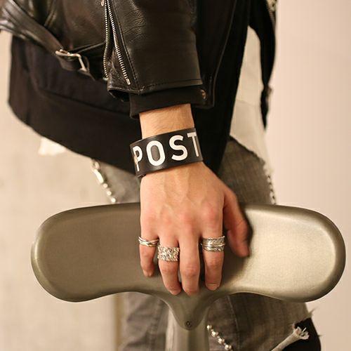 インデックスアルファベットレザーブレスレット -POST PUNK-