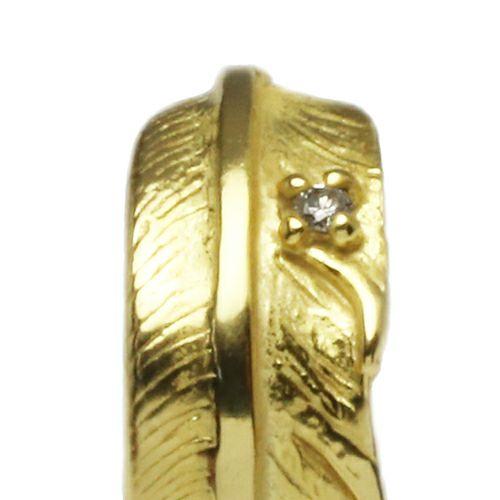 【JAM HOME MADE(ジャムホームメイド)】ダイヤモンドフェザーピアス -K18YELLOWGOLD- メンズ ゴールド ブランド おすすめ 人気 誕生日 プレゼント ギフト 片耳 羽 モチーフ ネイティブ