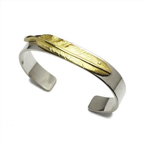 ブレスレット / ダイヤモンドフェザーバングル -K18YELLOWGOLD- メンズ シルバー 925 18金 ボリューム 太め ブランド 人気 ごつめ 平打ち