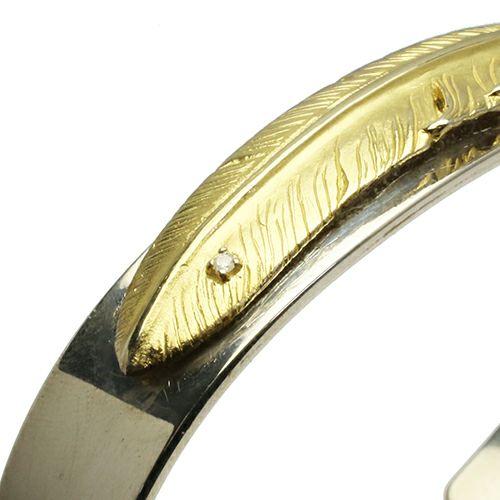 【JAM HOME MADE(ジャムホームメイド)】ダイヤモンドフェザーバングル -K18YELLOWGOLD- メンズ シルバー 925 18金 ボリューム 太め ブランド 人気 ごつめ 平打ち