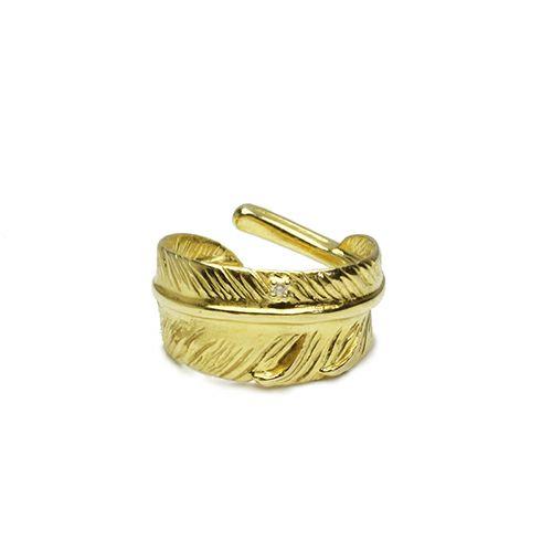 【JAM HOME MADE(ジャムホームメイド)】ダイヤモンドフェザーリング S -K18YELLOWGOLD- / 指輪 メンズ 18金 ダイヤモンド 人気 ブランド おすすめ 羽 ネイティブ モダン