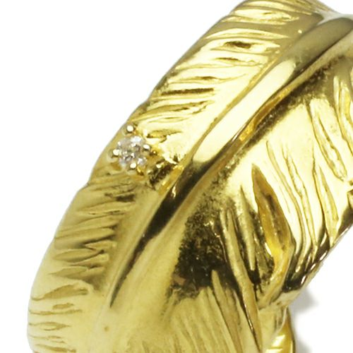 【ジャムホームメイド(JAMHOMEMADE)】ダイヤモンド フェザー リング S - K18イエローゴールド / 指輪