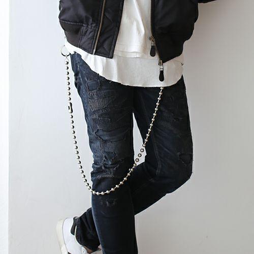 財布キーチェーン / A-アナーキー ウォレットチェーン L メンズ ブランド 人気 シルバー 財布 チェーン シンプル ボールチェーン パンク ロック