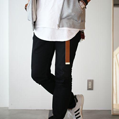 小物 / カッティングエッジ ロングキーホルダー -BROWN- メンズ ブランド ベルト 人気 レザー/革 ブラウン ヌメ革 シンプル パンク ロック