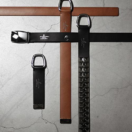 小物 / カッティングエッジ ショートキーホルダー -BROWN- メンズ ブランド ベルト 人気 レザー/革 ブラウン ヌメ革 シンプル パンク ロック
