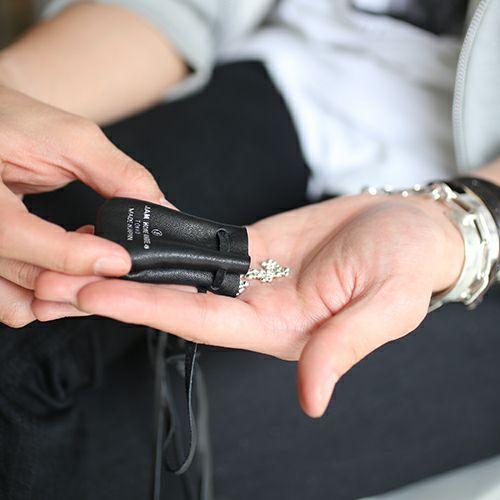 ネックレス / インゴット シークレットネックレス -BLACK- メンズ シルバー レザー 人気 ブランド おすすめ プレゼント アクセサリー 巾着